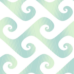 "6"" diagonal stripe wave in pale mint"