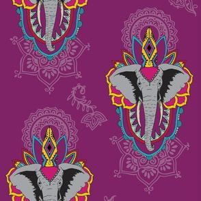 Elephants in Plum