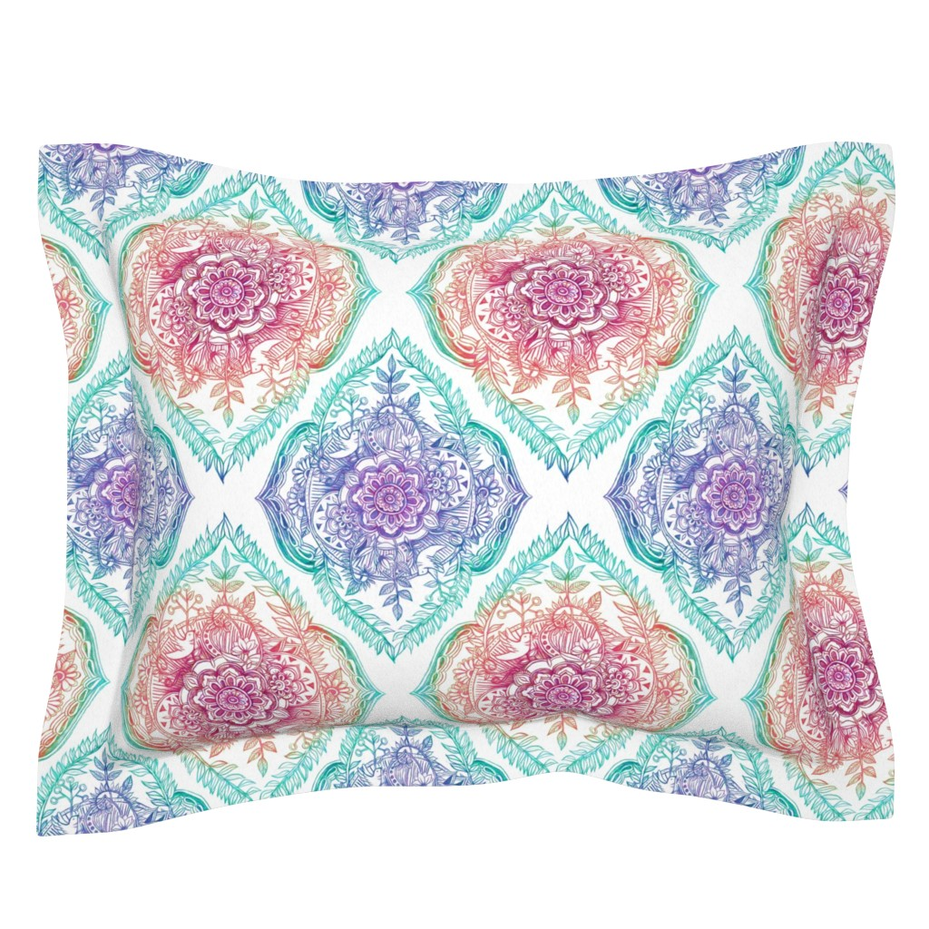Sebright Pillow Sham featuring Indian Ink - Rainbow version by micklyn