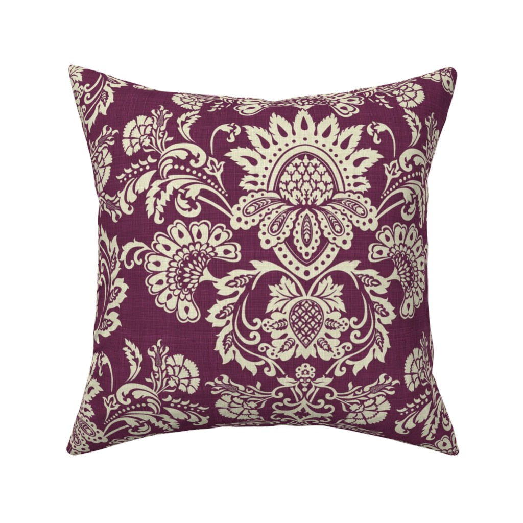 Catalan Throw Pillow featuring brocade_vintage_violet by chicca_besso