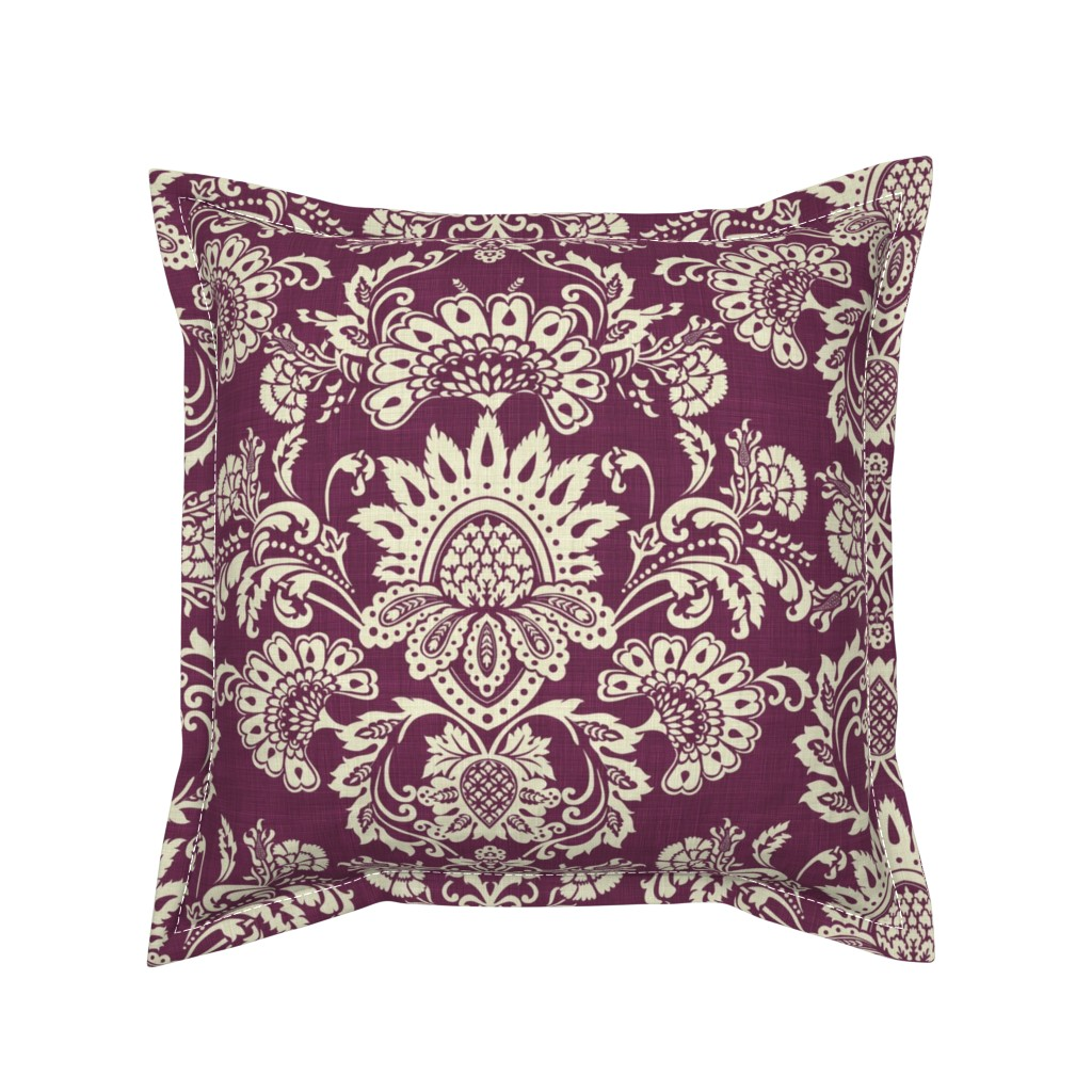 Serama Throw Pillow featuring brocade_vintage_violet by chicca_besso