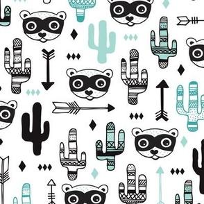 Fun Mint blue pastel raccoon cactus garden indian summer arrow geometric illustration pattern kids print