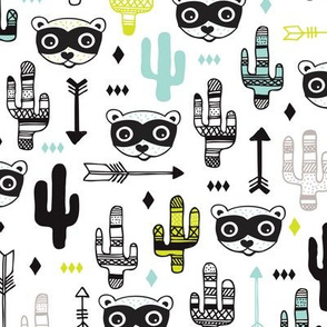 Fun mint blue and yellow raccoon cactus garden indian summer arrow geometric illustration pattern kids print