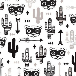 Fun raccoon cactus garden indian summer arrow geometric illustration pattern kids print