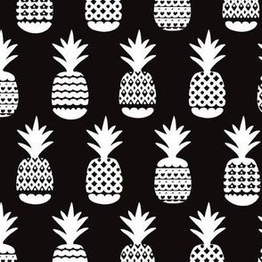 Fun black and white ananas geometric pineapple fruit summer beach theme illustration pattern