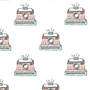 Quirky vintage polaroid style camera illustration hipster pastel colored toy pattern