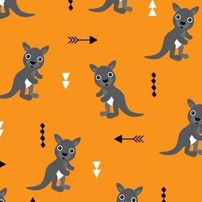 Hot orange adorable geometric kangaroo illustration australia kids pattern design