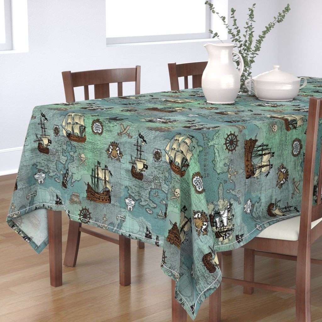 Bantam Rectangular Tablecloth featuring Pirate Ships Map Blue Big Repeat by teja_jamilla