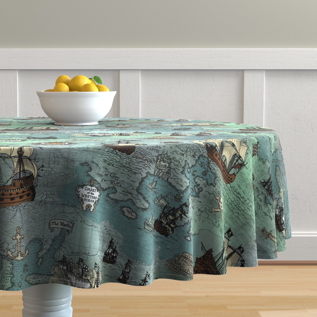 Malay Round Tablecloth featuring Pirate Ships Map Blue Big Repeat by teja_jamilla