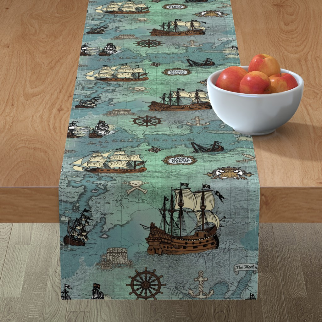 Minorca Table Runner featuring Pirate Ships Map Blue Big Repeat by teja_jamilla