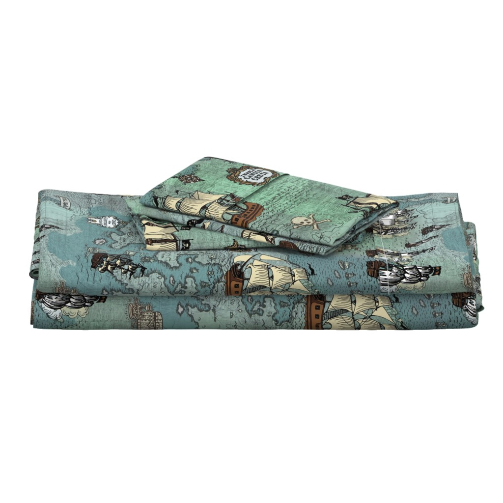 Langshan Full Bed Set featuring Pirate Ships Map Blue Big Repeat by teja_jamilla
