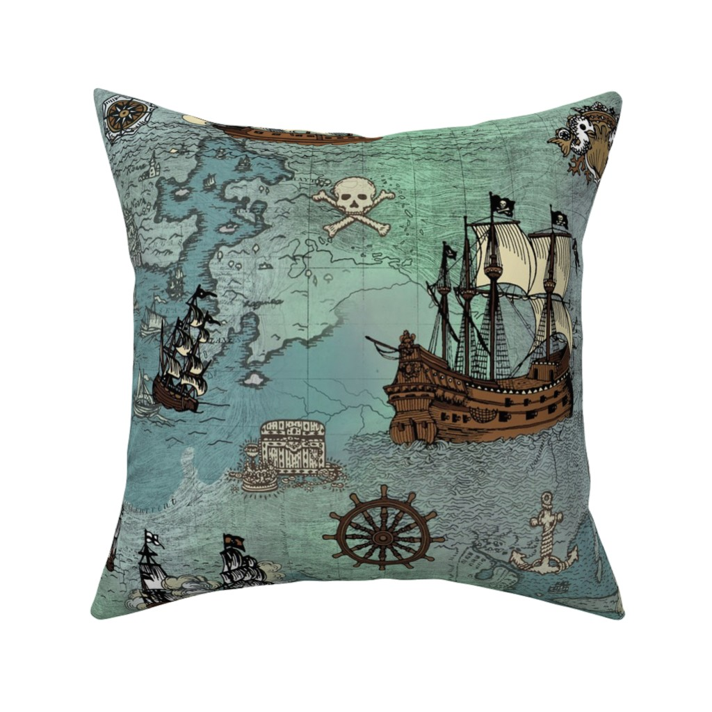 Catalan Throw Pillow featuring Pirate Ships Map Blue Big Repeat by teja_jamilla