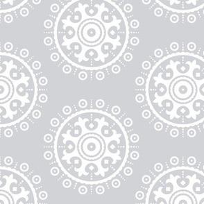 mod baby » suzani white on grey