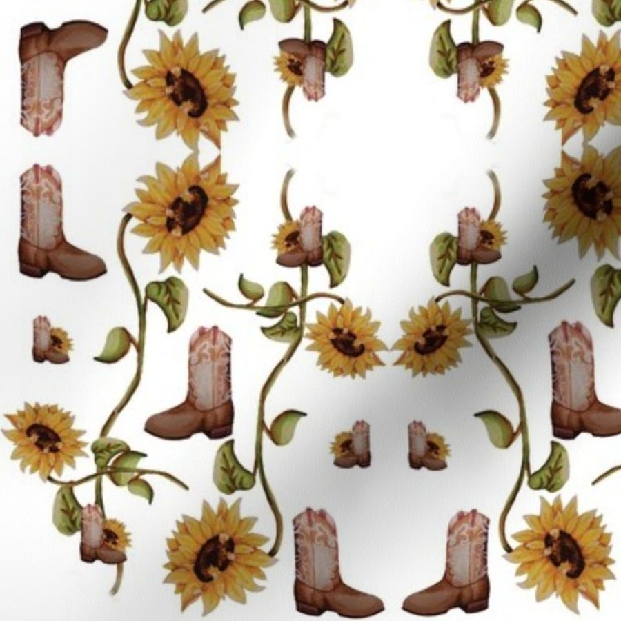 d64c65e5732 Fabric by the Yard Cowboy boots & sunflowers