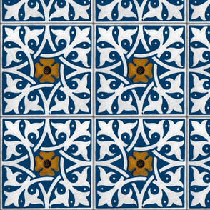 Medieval Tile ~ Lonely Angel Blue and White