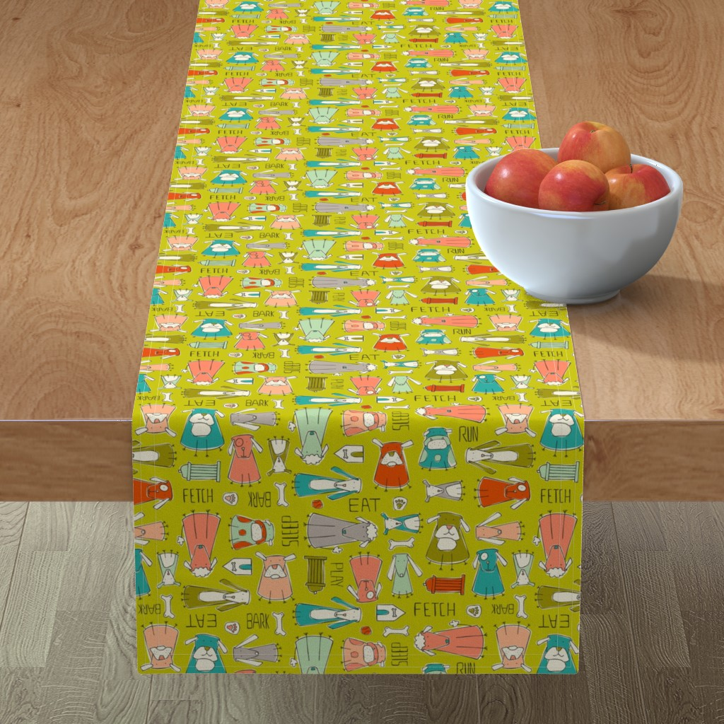 Minorca Table Runner featuring Dog Gone It - Pets Animals Green by heatherdutton