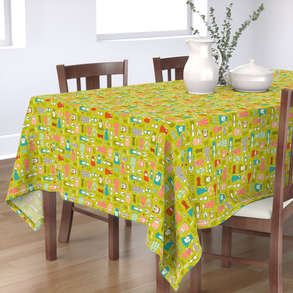 Bantam Rectangular Tablecloth featuring Dog Gone It - Pets Animals Green by heatherdutton