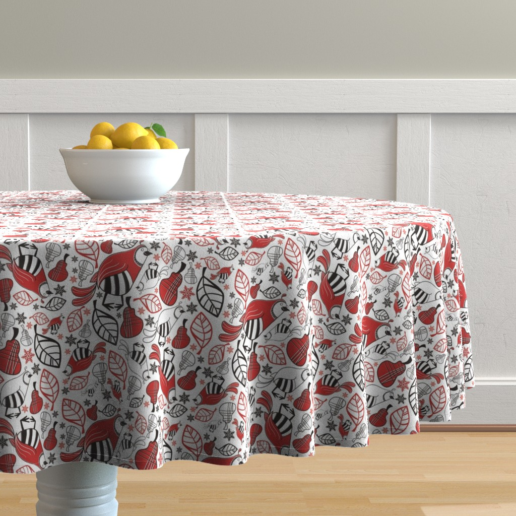 Malay Round Tablecloth featuring And a Partridge in a Pear Tree by brightonbelle