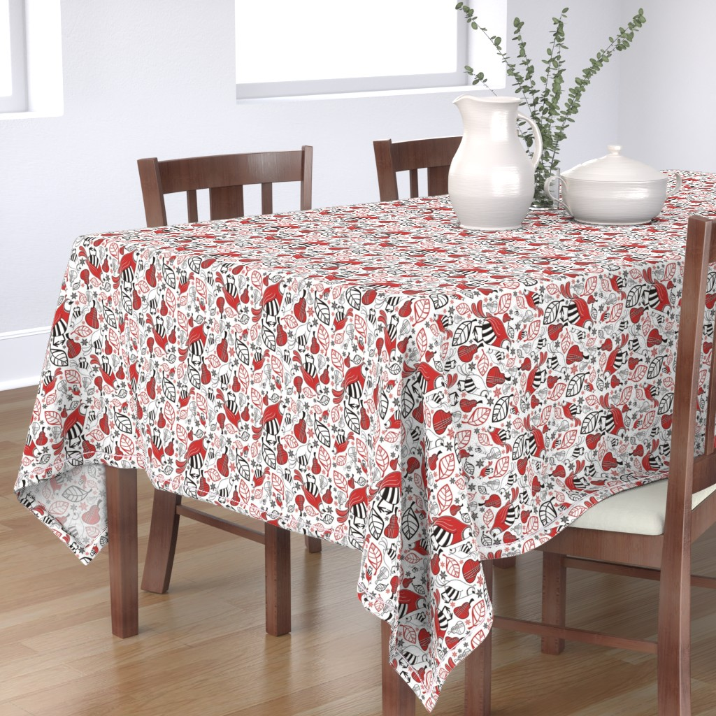 Bantam Rectangular Tablecloth featuring And a Partridge in a Pear Tree by brightonbelle