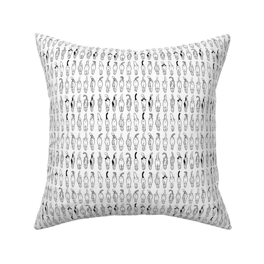 Catalan Throw Pillow featuring Cat Butts by little_luck_designs