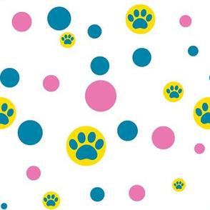 paw print polka-dot yellow, pink and blue