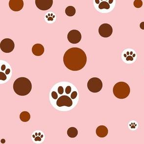 paw print polka-dot browns on light pink