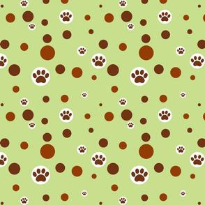 paw print polka-dot browns on light green