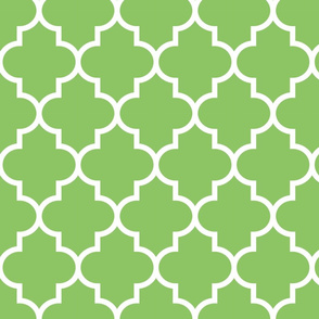 quatrefoil LG apple green