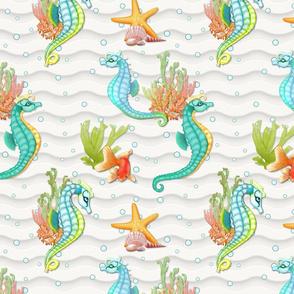 Seahorse Fantasy  on Ivory