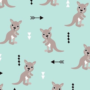 Hot pastel mint adorable geometric kangaroo illustration australia kids pattern design