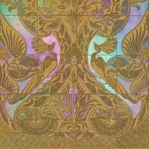 Merton Peacock Tiles ~ Gilt Gold on Irridescent Glass