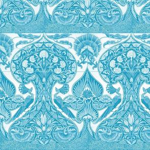 Merton Peacock Tiles ~ Caledonian Blue and White