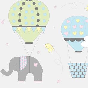 Pastel Hot Air Balloon Elephant on Gray