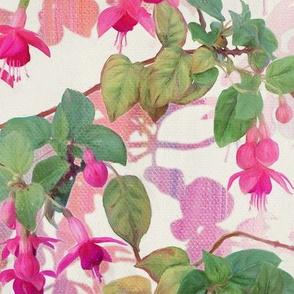Rainbow Fuchsia Floral Painted Pattern Large Print
