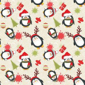Holiday Penguins Christmas Beige