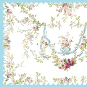 Rococo Faded Roses Tea Towel (enhanced)