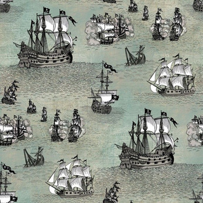 Pirate Ships Grey Stormy Sea