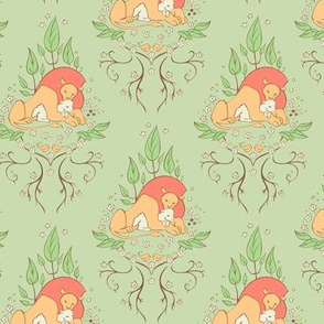 The Lion and the Lamb Damask Green