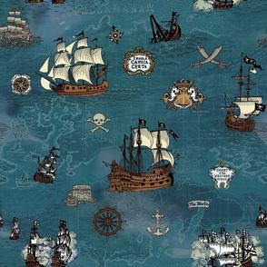 Pirate Ship Map Ocean Big Repeat