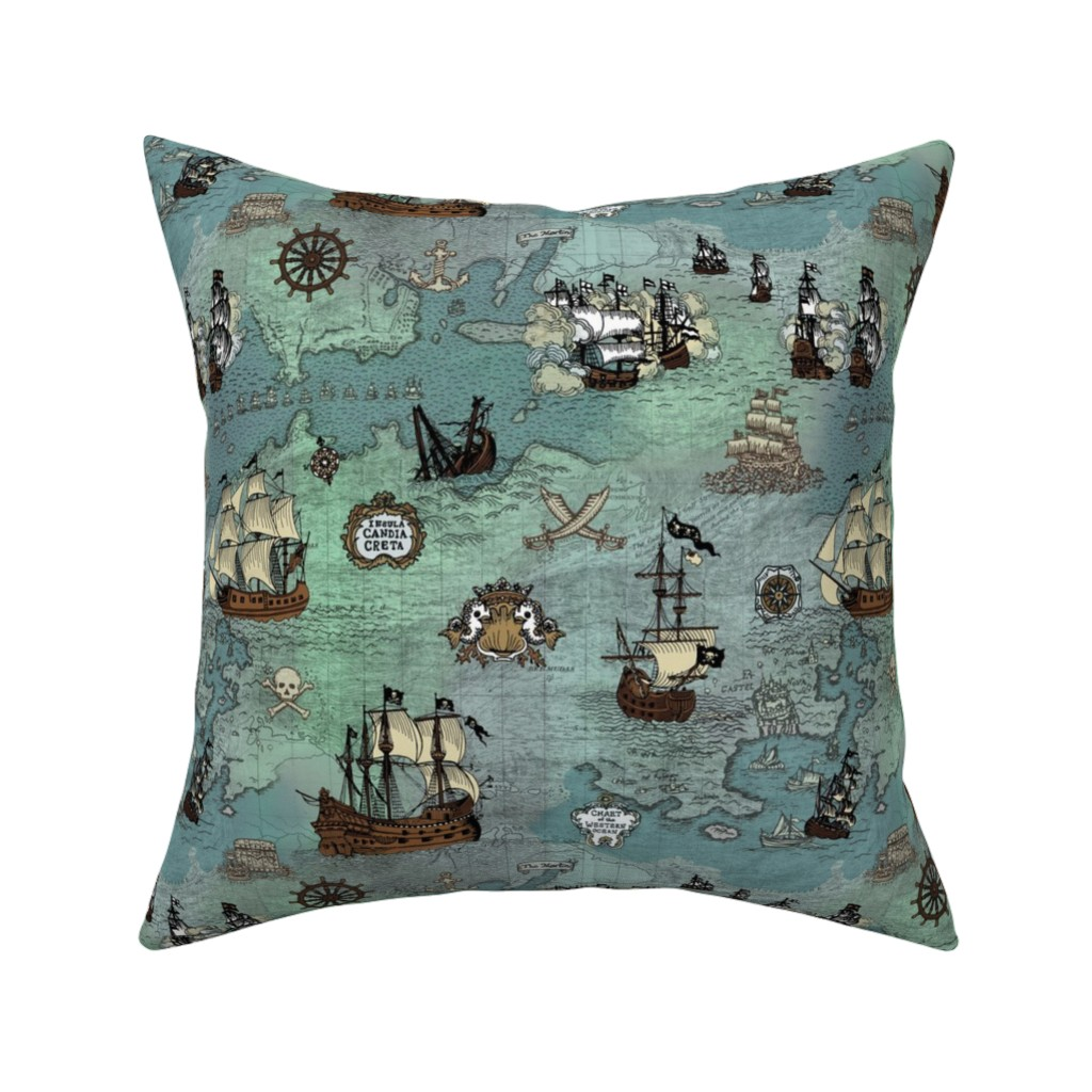 Catalan Throw Pillow featuring Pirate Ships Map Blue Small Repeat by teja_jamilla