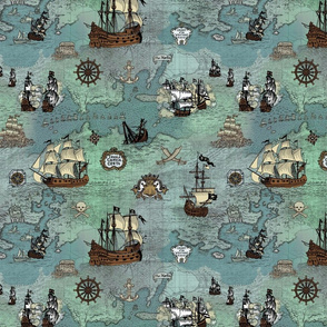 Pirate Ships Map Blue Small Repeat