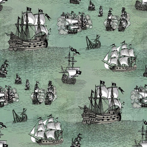 Pirate Ships Sea Glass Blue