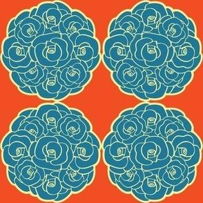 Rosette Bouquet Blue, Yellow, Orange