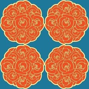 Rosette Bouquet Orange, Yellow, Blue