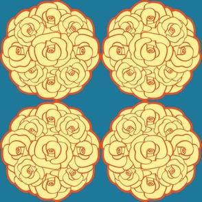 Rosette Bouquet Yellow, Orange, Blue