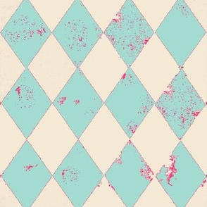 Mint and Cream Distressed Harlequin Diamond with Pink Flecks