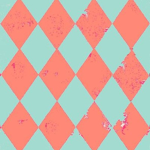 Peach and Mint Harlequin Grunge Diamond with Pink Flecks