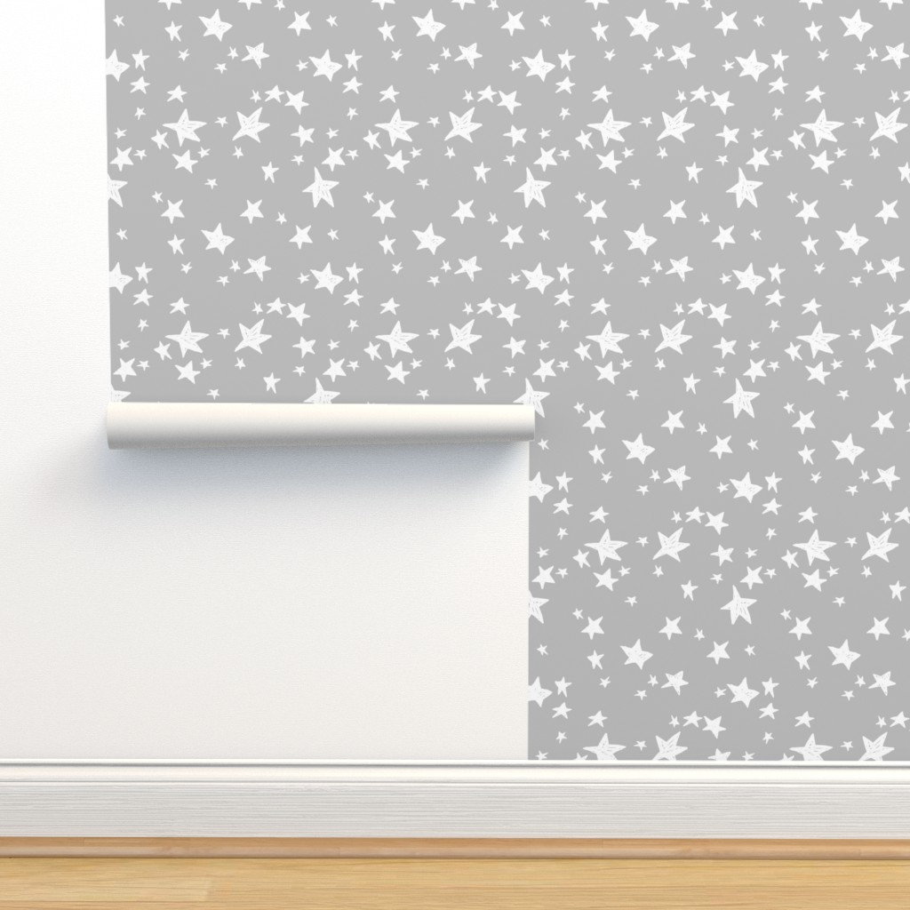 Stars Slate Grey Stars Fabric On Isobar By Andrea Lauren