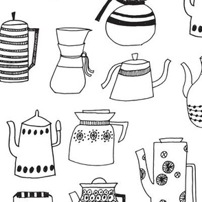 coffee pots // teapot coffee black and white hand-drawn coloring book illustration kitchen tea towel fabrics