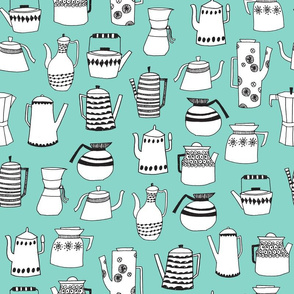 teapot // coffee pot tea cup chemex coffee mint food kitchen print